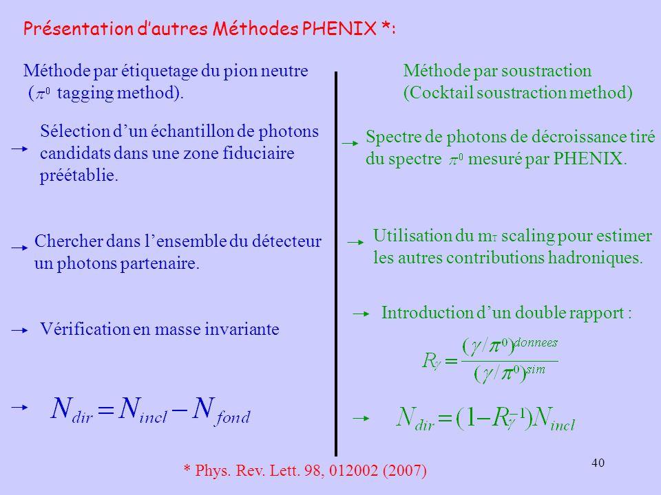 40 Présentation dautres Méthodes PHENIX *: Méthode par étiquetage du pion neutre ( tagging method). Méthode par soustraction (Cocktail soustraction me