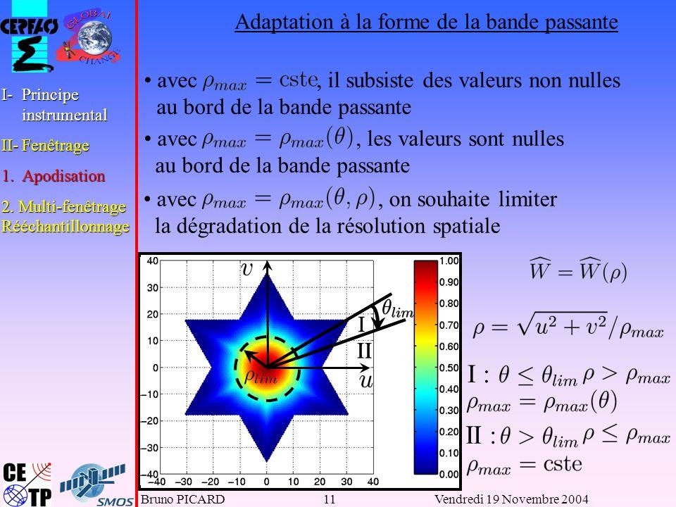 Bruno PICARD11Vendredi 19 Novembre 2004 I II avec, il subsiste des valeurs non nulles au bord de la bande passante avec, les valeurs sont nulles au bord de la bande passante avec, on souhaite limiter la dégradation de la résolution spatiale I : II : II I I-Principe instrumental II-Fenêtrage 1.Apodisation 2.