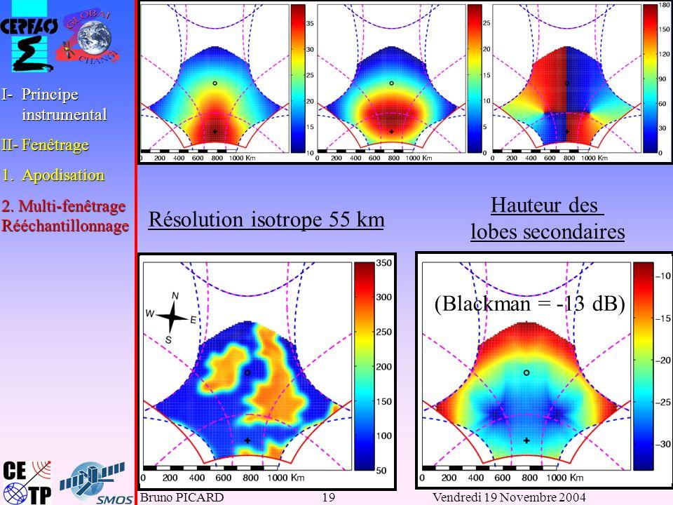 Bruno PICARD19Vendredi 19 Novembre 2004 Résolution isotrope 55 km Hauteur des lobes secondaires (Blackman = -13 dB) I-Principe instrumental II-Fenêtrage 1.Apodisation 2.