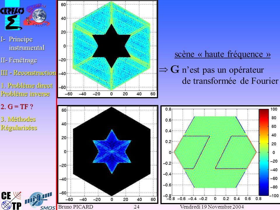 Bruno PICARD24Vendredi 19 Novembre 2004 scène « haute fréquence » nest pas un opérateur de transformée de Fourier I-Principe instrumental II-Fenêtrage III - Reconstruction 1.
