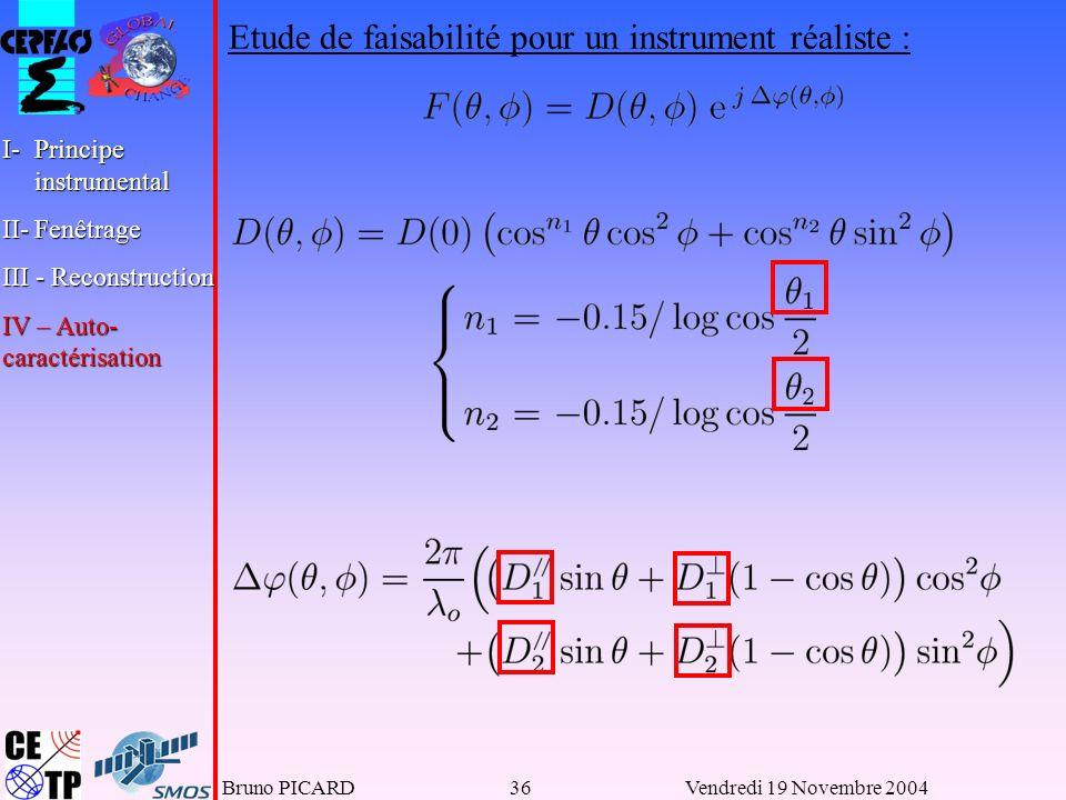Bruno PICARD36Vendredi 19 Novembre 2004 Etude de faisabilité pour un instrument réaliste : I-Principe instrumental II-Fenêtrage III - Reconstruction IV – Auto- caractérisation