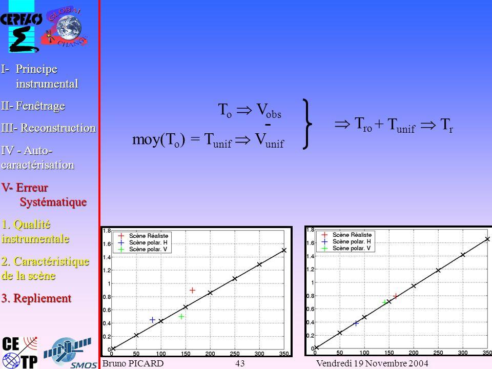 Bruno PICARD43Vendredi 19 Novembre 2004 T o V obs moy(T o ) = T unif V unif T ro - + T unif T r I-Principe instrumental II-Fenêtrage III- Reconstruction IV - Auto- caractérisation V- Erreur Systématique 1.