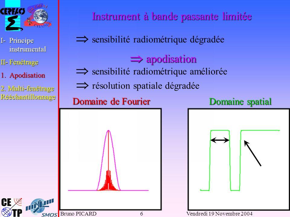 Bruno PICARD6Vendredi 19 Novembre 2004 Domaine de Fourier Domaine spatial Instrument à bande passante limitée apodisation apodisation sensibilité radiométrique dégradée sensibilité radiométrique améliorée résolution spatiale dégradée I-Principe instrumental II-Fenêtrage 1.Apodisation 2.