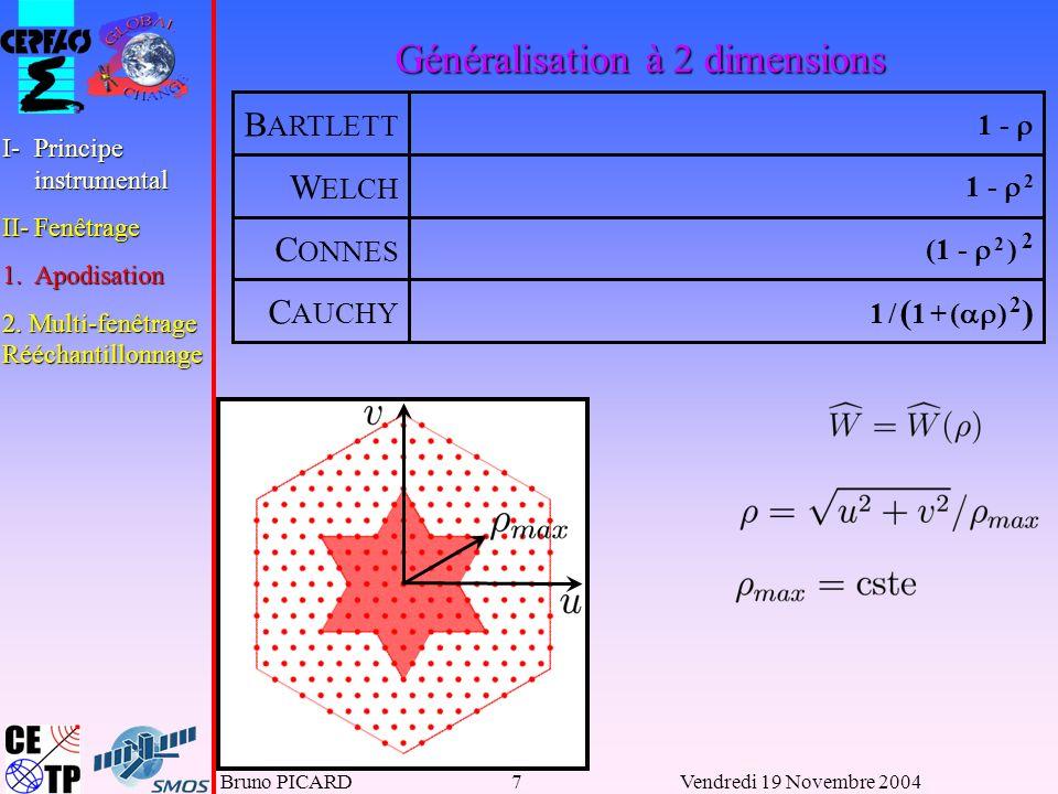 Bruno PICARD18Vendredi 19 Novembre 2004 Pour une résolution D donnée, on minimise : I-Principe instrumental II-Fenêtrage 1.Apodisation 2.