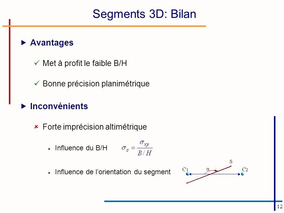 12 Segments 3D: Bilan Avantages Met à profit le faible B/H Bonne précision planimétrique Inconvénients Forte imprécision altimétrique Influence du B/H Influence de lorientation du segment