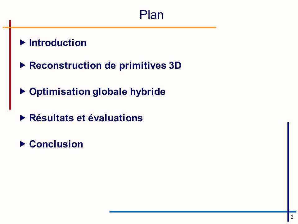 2 Plan Introduction Reconstruction de primitives 3D Optimisation globale hybride Résultats et évaluations Conclusion