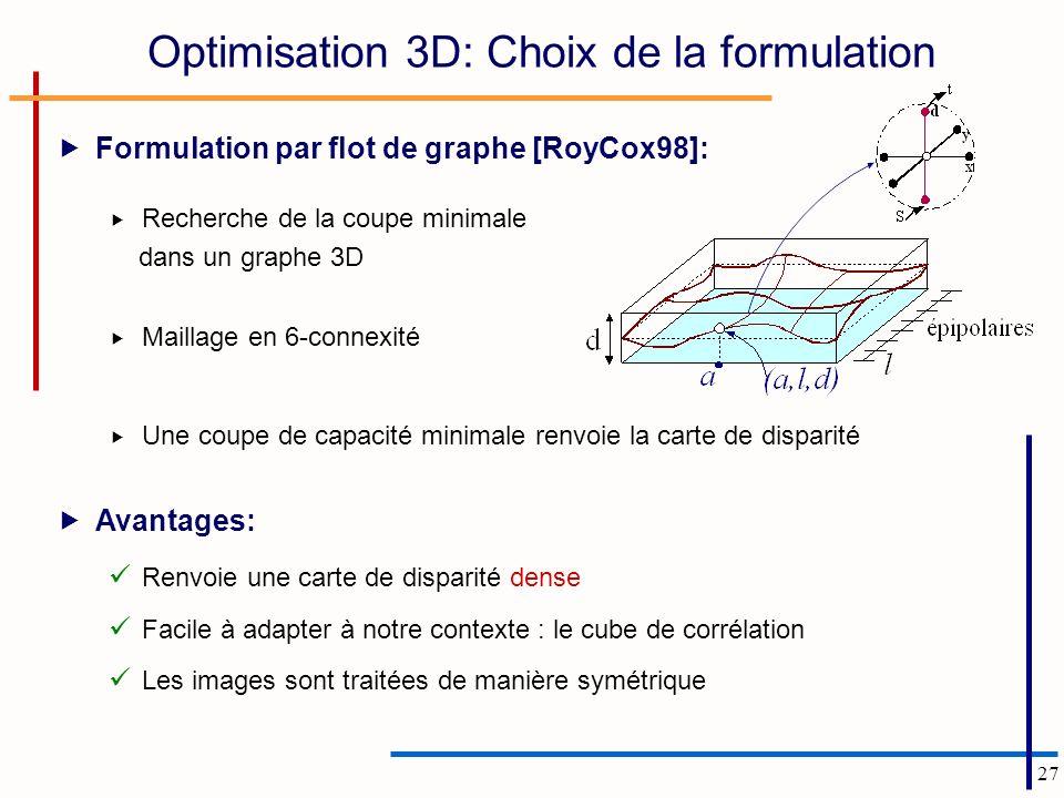 27 Optimisation 3D: Choix de la formulation Formulation par flot de graphe [RoyCox98]: Recherche de la coupe minimale dans un graphe 3D Maillage en 6-connexité Une coupe de capacité minimale renvoie la carte de disparité Avantages: Renvoie une carte de disparité dense Facile à adapter à notre contexte : le cube de corrélation Les images sont traitées de manière symétrique
