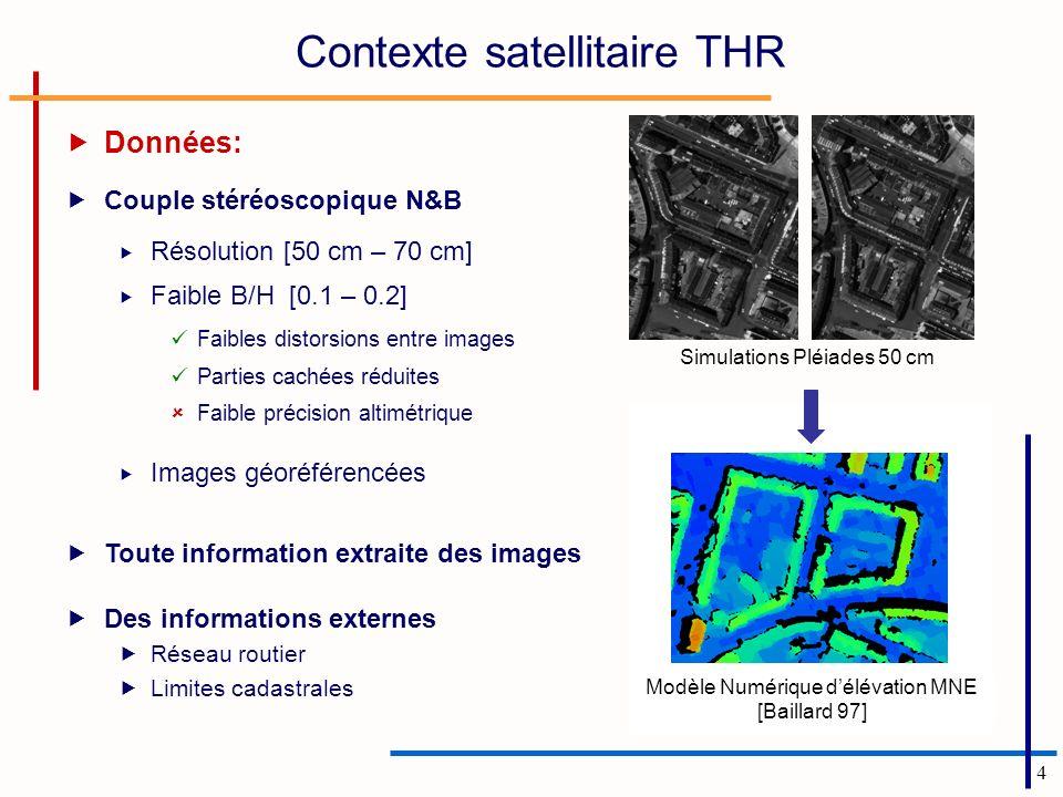 4 Données: Couple stéréoscopique N&B Résolution [50 cm – 70 cm] Faible B/H [0.1 – 0.2] Faibles distorsions entre images Parties cachées réduites Faibl