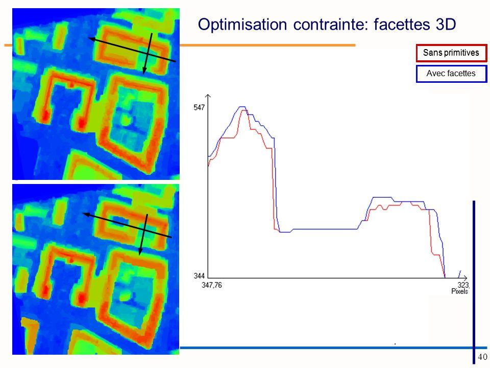 40 Carte des facettes retenues dans la coupe (k, Cste) =(0.5, 0.5) Optimisation contrainte: facettes 3D Sans primitives Avec facettes Sans primitives Avec facettes