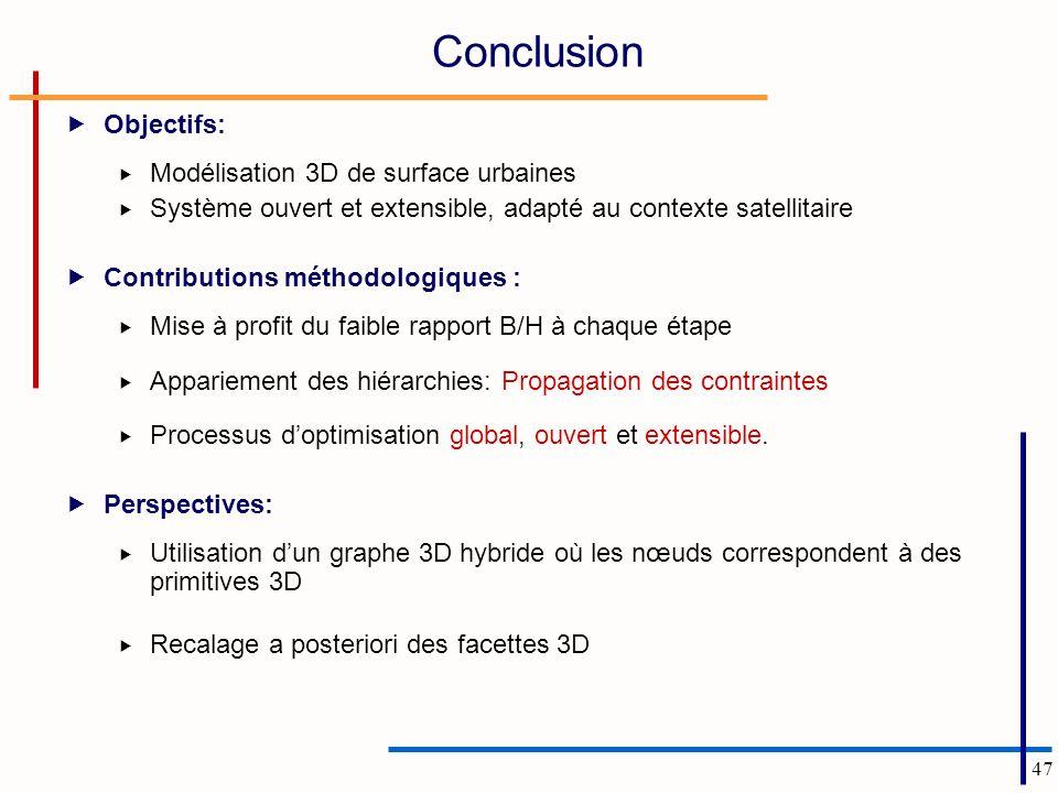 47 Conclusion Objectifs: Modélisation 3D de surface urbaines Système ouvert et extensible, adapté au contexte satellitaire Contributions méthodologiques : Mise à profit du faible rapport B/H à chaque étape Appariement des hiérarchies: Propagation des contraintes Processus doptimisation global, ouvert et extensible.