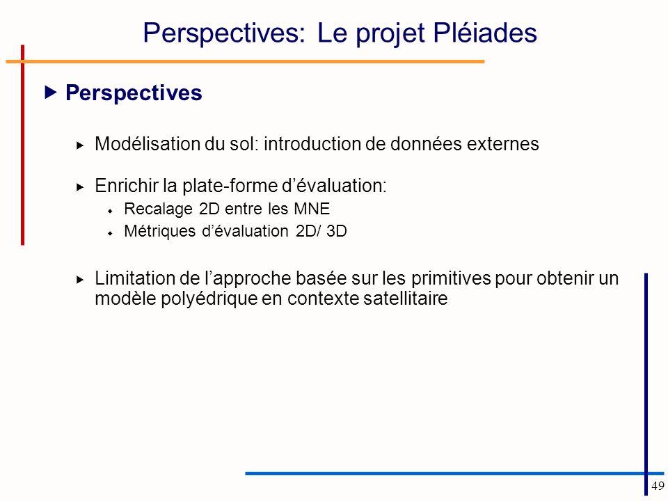 49 Perspectives: Le projet Pléiades Perspectives Modélisation du sol: introduction de données externes Enrichir la plate-forme dévaluation: Recalage 2D entre les MNE Métriques dévaluation 2D/ 3D Limitation de lapproche basée sur les primitives pour obtenir un modèle polyédrique en contexte satellitaire
