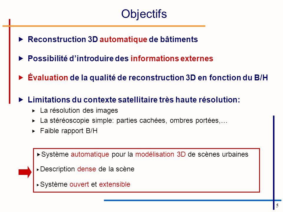 5 Objectifs Reconstruction 3D automatique de bâtiments Possibilité dintroduire des informations externes Évaluation de la qualité de reconstruction 3D