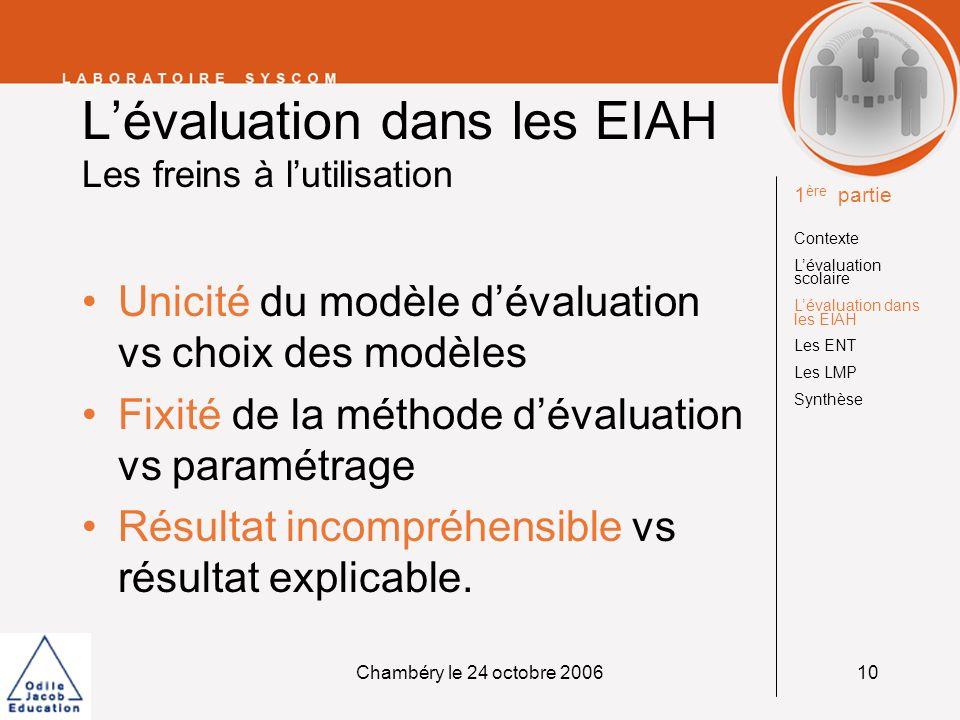 Chambéry le 24 octobre 200610 Lévaluation dans les EIAH Les freins à lutilisation Unicité du modèle dévaluation vs choix des modèles Fixité de la méth