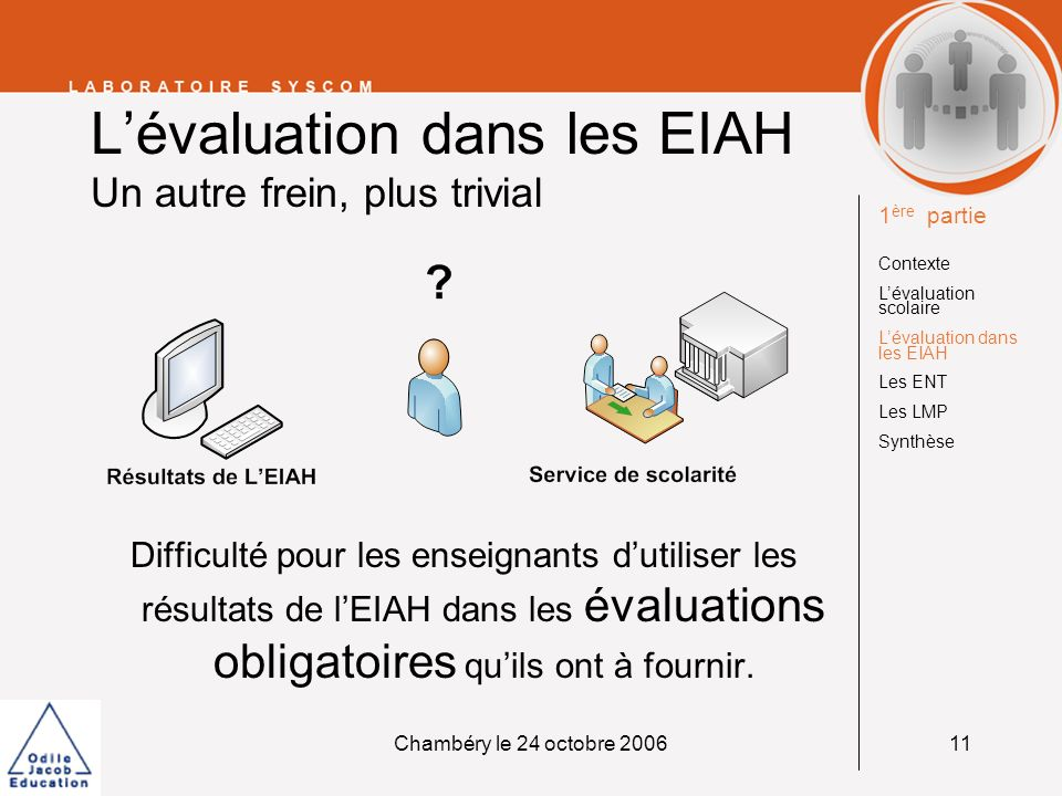 Chambéry le 24 octobre 200611 Lévaluation dans les EIAH Un autre frein, plus trivial Difficulté pour les enseignants dutiliser les résultats de lEIAH