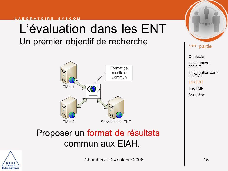 Chambéry le 24 octobre 200615 Lévaluation dans les ENT Un premier objectif de recherche Proposer un format de résultats commun aux EIAH. 1 ère partie