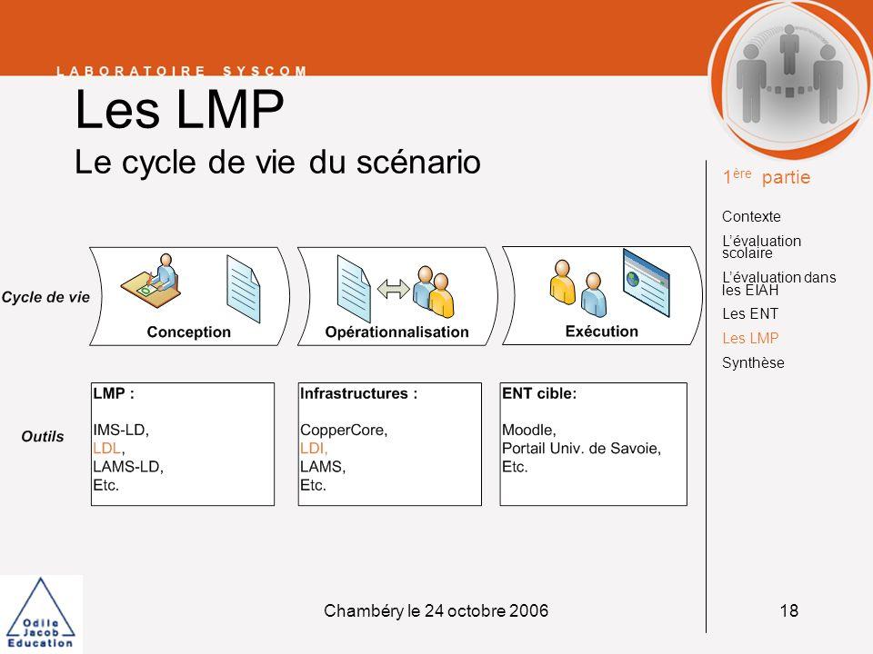 Chambéry le 24 octobre 200618 Les LMP Le cycle de vie du scénario 1 ère partie Contexte Lévaluation scolaire Lévaluation dans les EIAH Les ENT Les LMP
