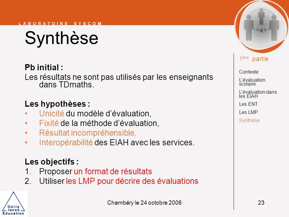 Chambéry le 24 octobre 200624 Modèle de résultats Méthodologie Formats existants (IMS-QTI, IMS-LIP, SCORM, etc.) EIAH (TDmaths, Pépite, etc.) ENT (Portail de lUniv.