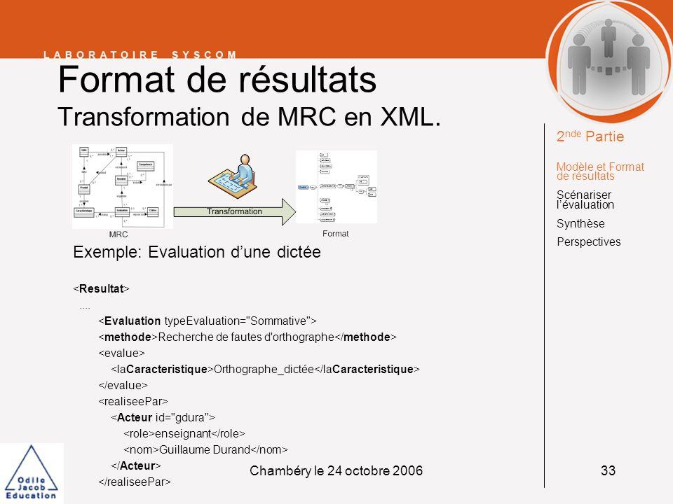 Chambéry le 24 octobre 200633 Format de résultats Transformation de MRC en XML. Exemple: Evaluation dune dictée.... Recherche de fautes d'orthographe
