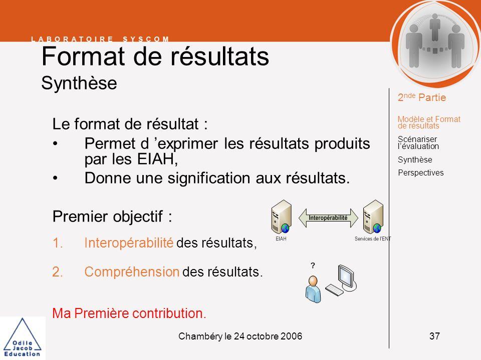 Chambéry le 24 octobre 200637 Format de résultats Synthèse Le format de résultat : Permet d exprimer les résultats produits par les EIAH, Donne une si