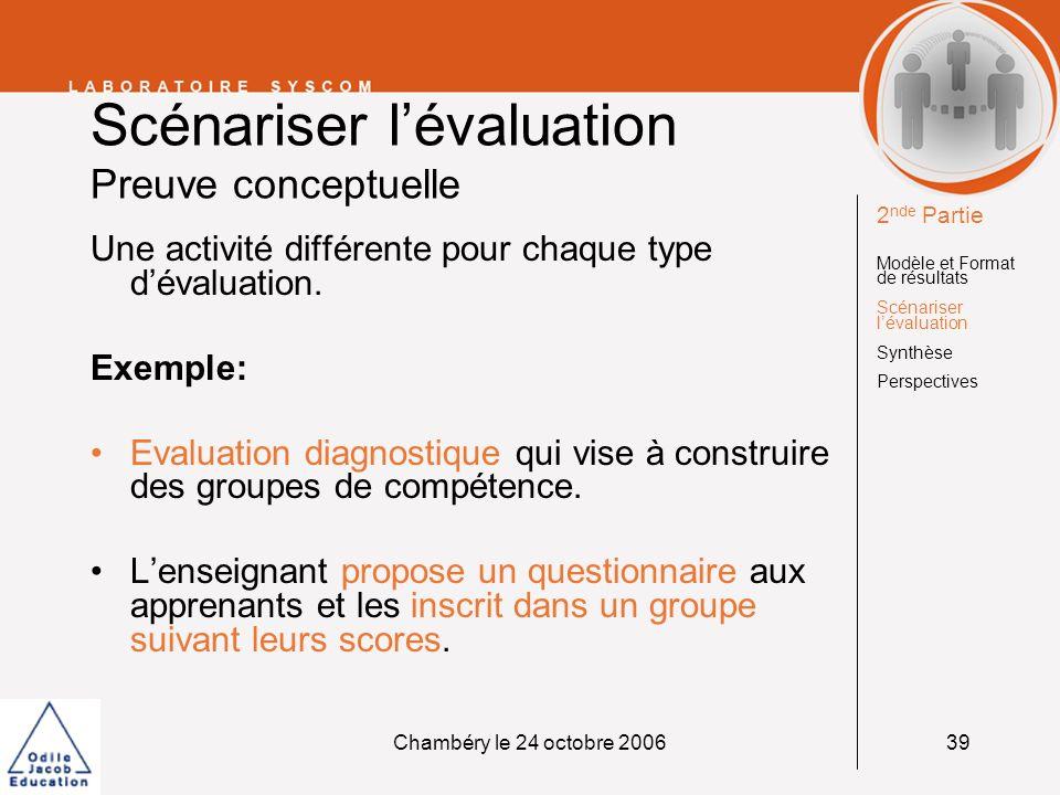 Chambéry le 24 octobre 200639 Scénariser lévaluation Preuve conceptuelle Une activité différente pour chaque type dévaluation. Exemple: Evaluation dia