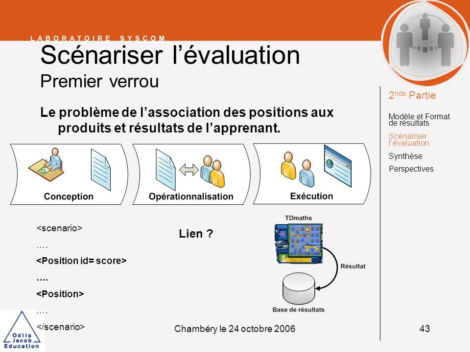 Chambéry le 24 octobre 200643 Scénariser lévaluation Premier verrou Le problème de lassociation des positions aux produits et résultats de lapprenant.