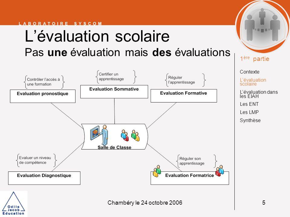 Chambéry le 24 octobre 20066 Lévaluation dans les EIAH La même diversité 1 ère partie Contexte Lévaluation scolaire Lévaluation dans les EIAH Les ENT Les LMP Synthèse