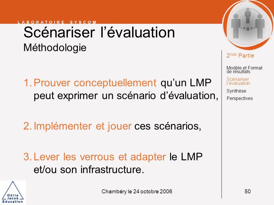 Chambéry le 24 octobre 200650 Scénariser lévaluation Méthodologie 1.Prouver conceptuellement quun LMP peut exprimer un scénario dévaluation, 2.Impléme