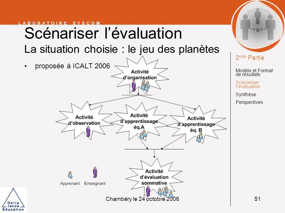 Chambéry le 24 octobre 200651 Scénariser lévaluation La situation choisie : le jeu des planètes proposée à ICALT 2006 2 nde Partie Modèle et Format de