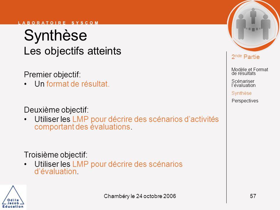 Chambéry le 24 octobre 200657 Synthèse Les objectifs atteints Premier objectif: Un format de résultat. Deuxième objectif: Utiliser les LMP pour décrir