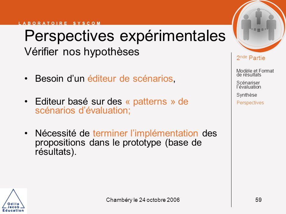 Chambéry le 24 octobre 200659 Perspectives expérimentales Vérifier nos hypothèses Besoin dun éditeur de scénarios, Editeur basé sur des « patterns » d