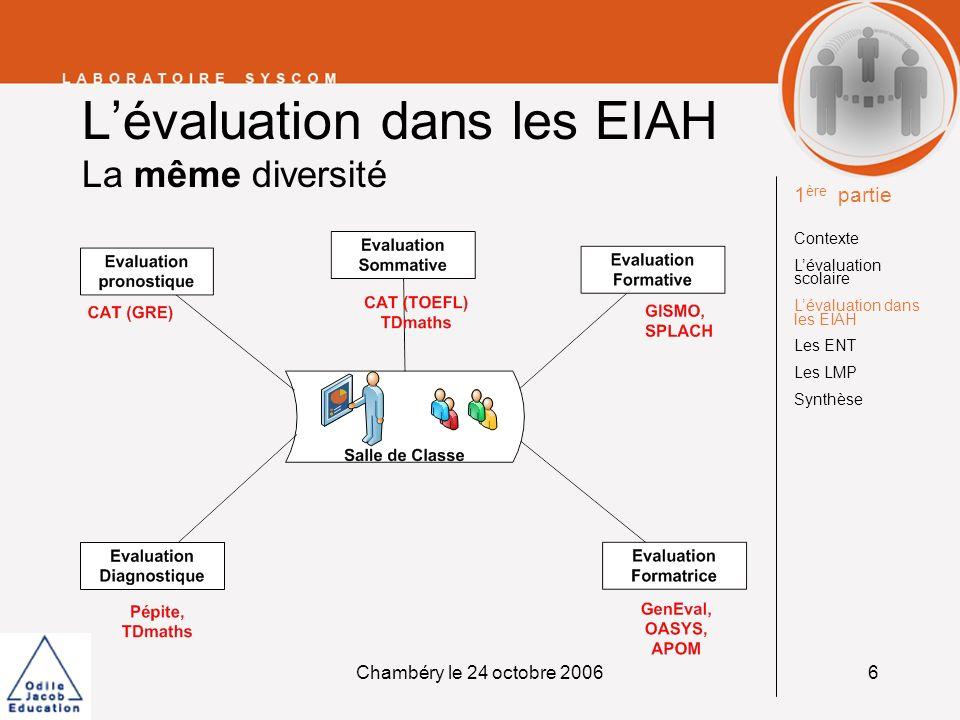 Chambéry le 24 octobre 20066 Lévaluation dans les EIAH La même diversité 1 ère partie Contexte Lévaluation scolaire Lévaluation dans les EIAH Les ENT