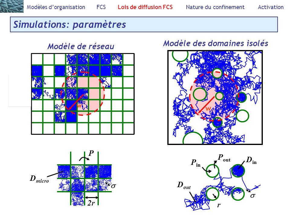 Modèles dorganisation FCS Lois de diffusion FCS Nature du confinement Activation Simulations: paramètres Modèle de réseau P D micro 2r D out D in P in P out r Modèle des domaines isolés w