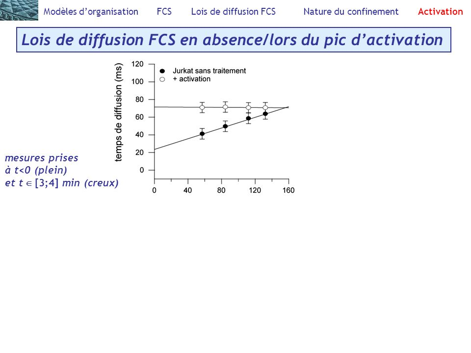 Modèles dorganisation FCS Lois de diffusion FCS Nature du confinement Activation Lois de diffusion FCS en absence/lors du pic dactivation mesures pris