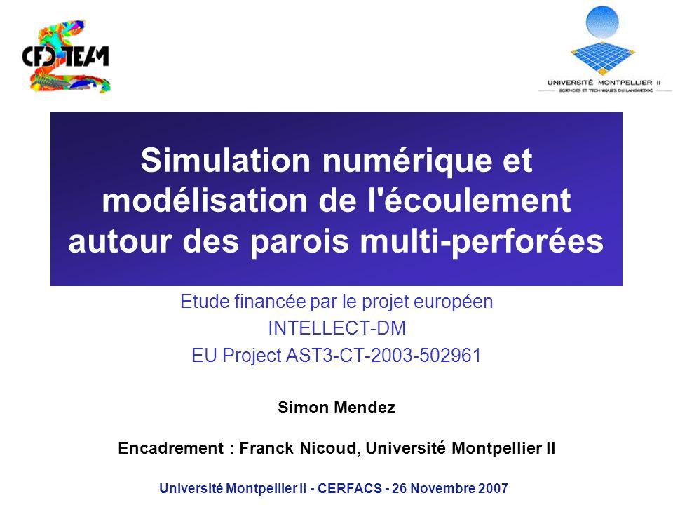 Simulation numérique et modélisation de l'écoulement autour des parois multi-perforées Etude financée par le projet européen INTELLECT-DM EU Project A