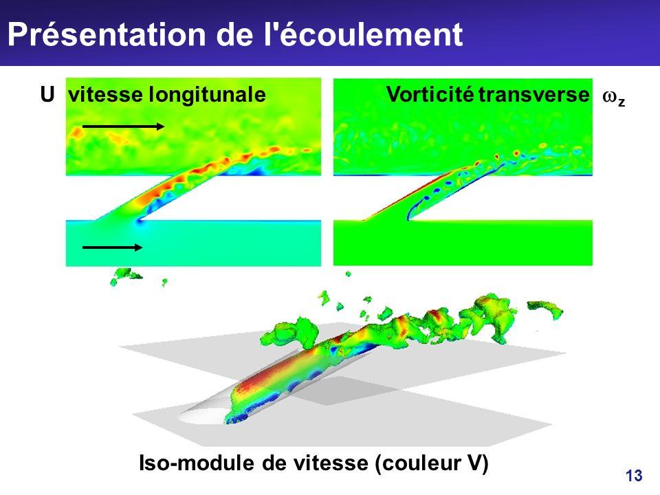 13 Présentation de l'écoulement U vitesse longitunale Vorticité transverse z Iso-module de vitesse (couleur V)