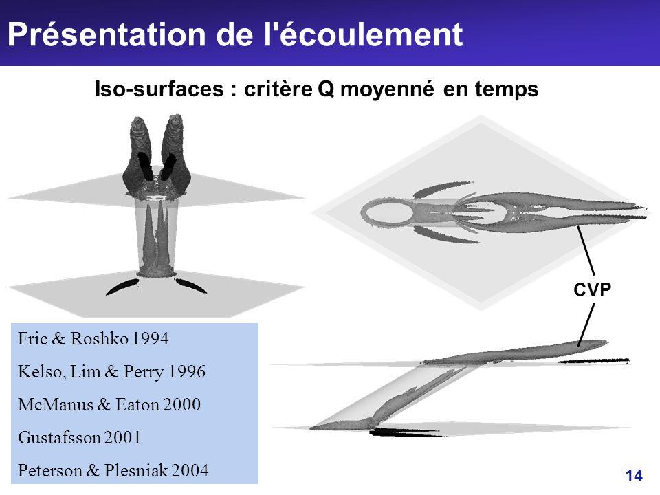 14 Présentation de l'écoulement Fric & Roshko 1994 Kelso, Lim & Perry 1996 McManus & Eaton 2000 Gustafsson 2001 Peterson & Plesniak 2004 Iso-surfaces