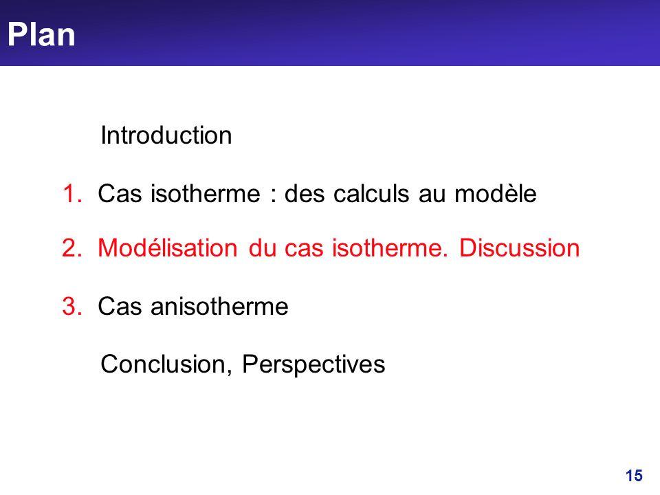 15 Plan Introduction 1. Cas isotherme : des calculs au modèle 2. Modélisation du cas isotherme. Discussion 3. Cas anisotherme Conclusion, Perspectives