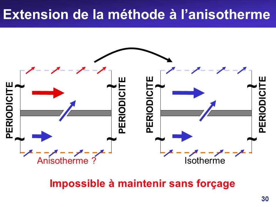 30 Extension de la méthode à lanisotherme PERIODICITE ~~ ~~ Isotherme PERIODICITE ~~ ~~ Anisotherme ? Impossible à maintenir sans forçage