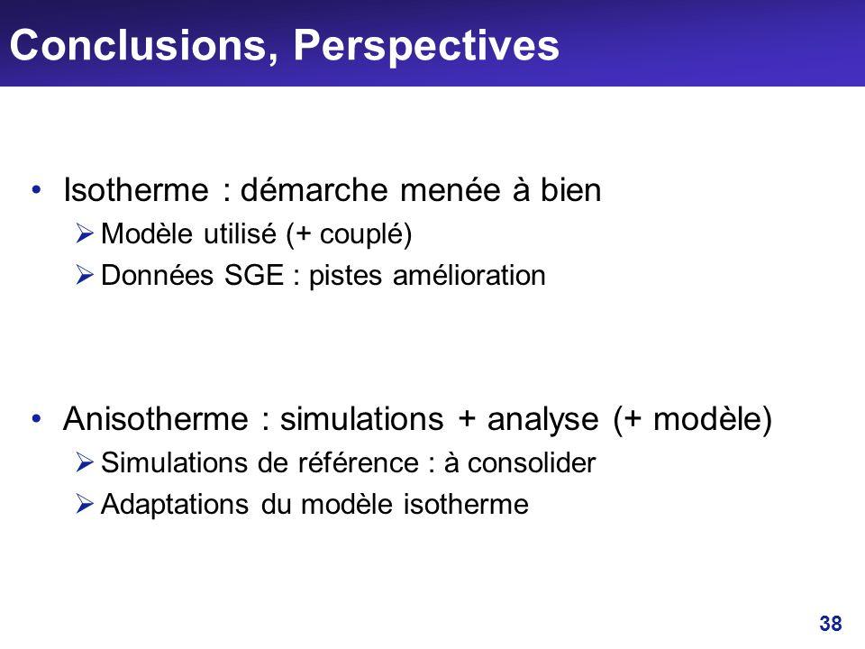 38 Conclusions, Perspectives Isotherme : démarche menée à bien Modèle utilisé (+ couplé) Données SGE : pistes amélioration Anisotherme : simulations +