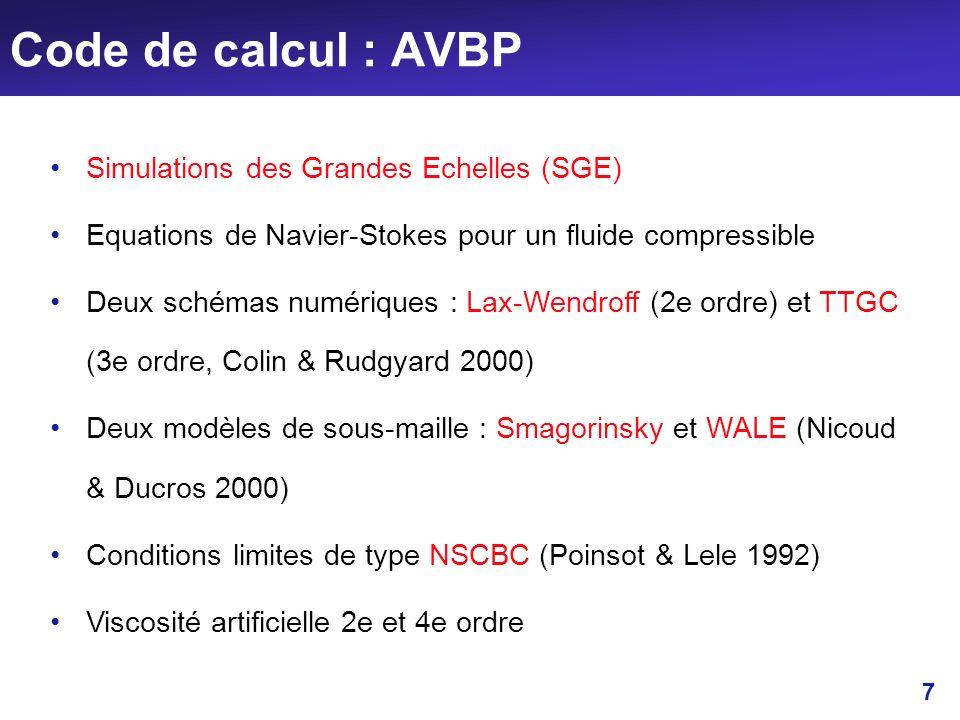 7 Code de calcul : AVBP Simulations des Grandes Echelles (SGE) Equations de Navier-Stokes pour un fluide compressible Deux schémas numériques : Lax-We