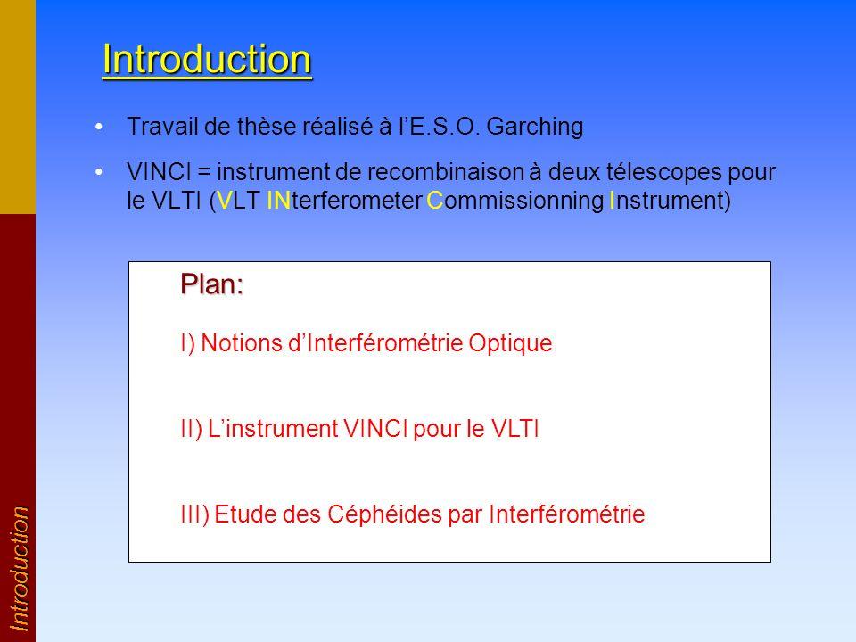 Introduction Travail de thèse réalisé à lE.S.O. Garching VINCI = instrument de recombinaison à deux télescopes pour le VLTI (VLT INterferometer Commis