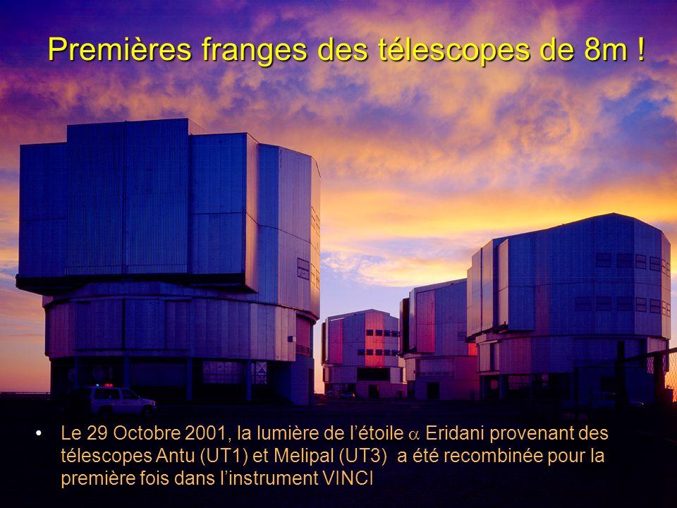 Premières franges des télescopes de 8m ! Le 29 Octobre 2001, la lumière de létoile Eridani provenant des télescopes Antu (UT1) et Melipal (UT3) a été