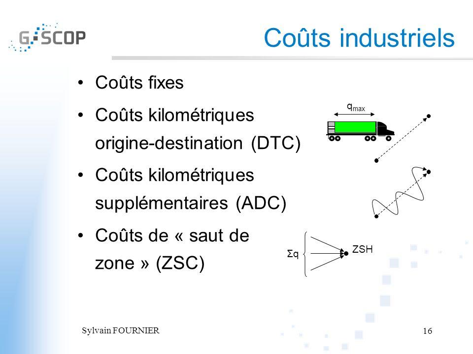 Sylvain FOURNIER 16 Coûts industriels Coûts fixes Coûts kilométriques origine-destination (DTC) Coûts kilométriques supplémentaires (ADC) Coûts de « s