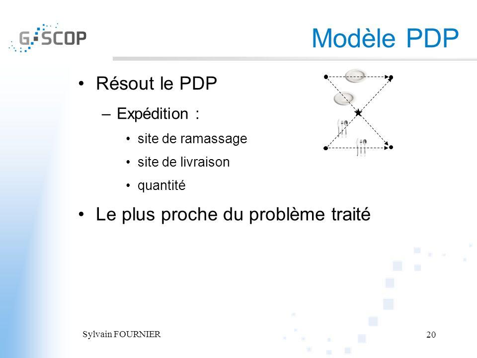 Sylvain FOURNIER 20 Résout le PDP –Expédition : site de ramassage site de livraison quantité Le plus proche du problème traité Modèle PDP