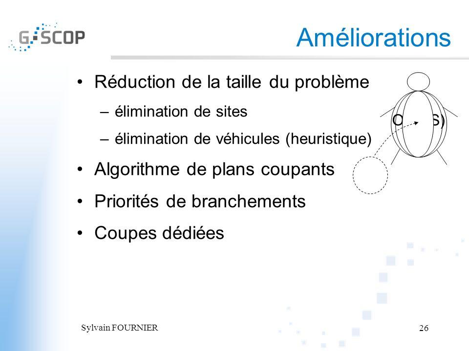 Sylvain FOURNIER 26 Améliorations Réduction de la taille du problème –élimination de sites –élimination de véhicules (heuristique) Algorithme de plans