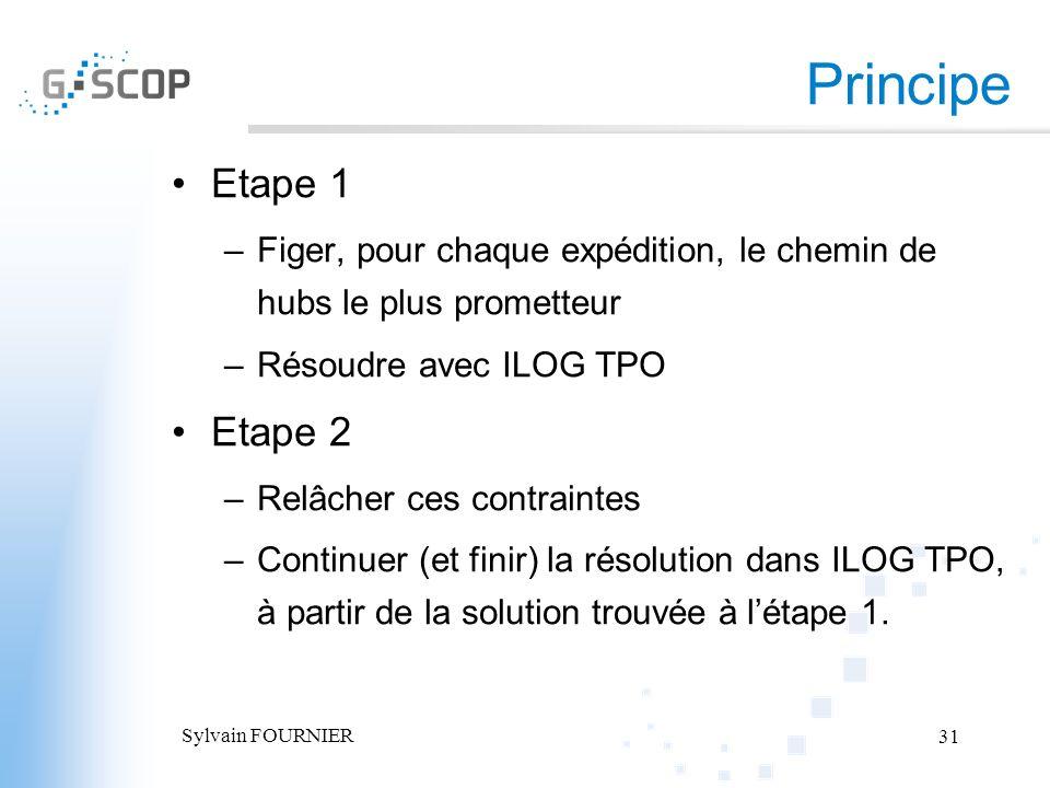 Sylvain FOURNIER 31 Principe Etape 1 –Figer, pour chaque expédition, le chemin de hubs le plus prometteur –Résoudre avec ILOG TPO Etape 2 –Relâcher ce