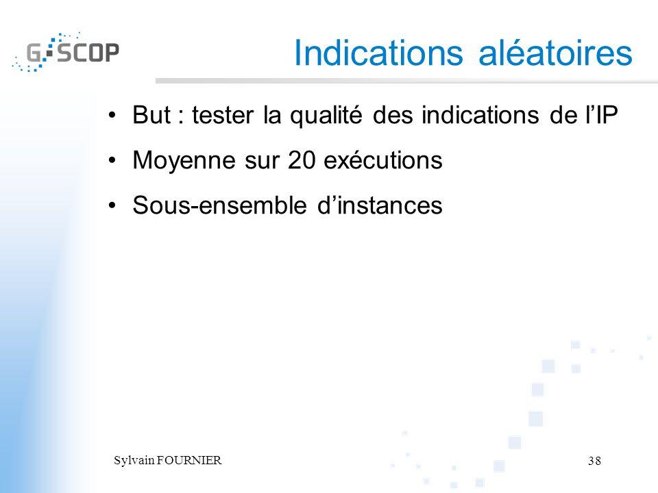 Sylvain FOURNIER 38 Indications aléatoires But : tester la qualité des indications de lIP Moyenne sur 20 exécutions Sous-ensemble dinstances