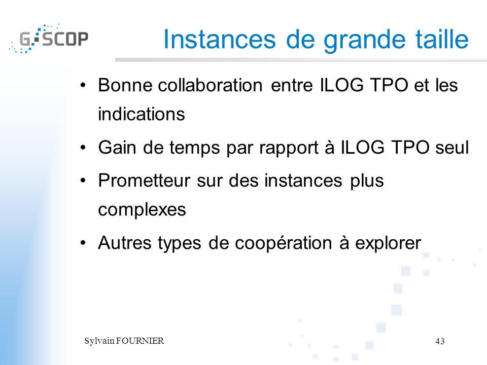 Sylvain FOURNIER 43 Instances de grande taille Bonne collaboration entre ILOG TPO et les indications Gain de temps par rapport à ILOG TPO seul Promett