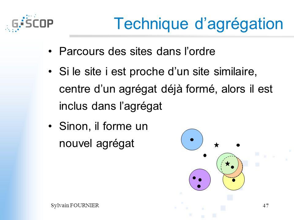 Sylvain FOURNIER 47 Technique dagrégation Parcours des sites dans lordre Si le site i est proche dun site similaire, centre dun agrégat déjà formé, al