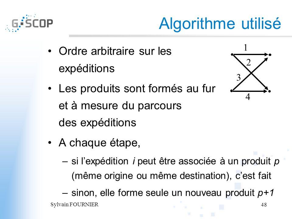 Sylvain FOURNIER 48 Ordre arbitraire sur les expéditions Les produits sont formés au fur et à mesure du parcours des expéditions A chaque étape, –si l